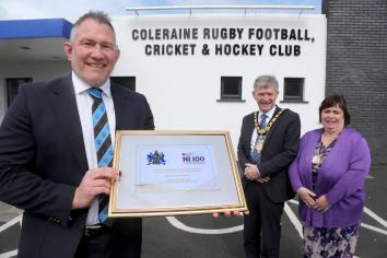 Mayor marks milestone at Coleraine Rugby Club