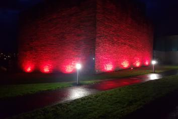 Council offices light up RED to celebrate local charity milestone