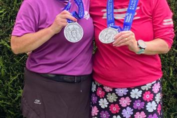 Twin sisters in marathon effort