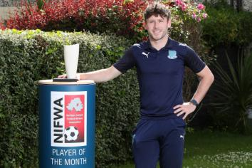 Ballymena United striker Shay McCartan is Premiership Player of the Month for May